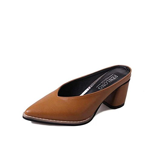 Mujer de para Chanclas Heel Talla Pointed Black Summer Comfort Toe Green 39 Informal Zapatillas Block Yellow 34 Marrón Vestimenta y axtfqE5wF8