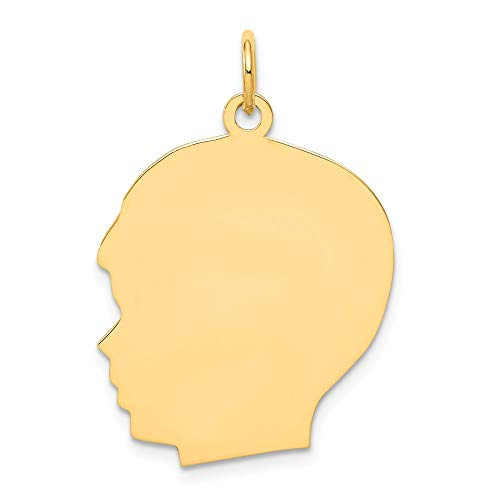 14k Yellow Gold Large .009 Gauge Facing Left Engravable Boy Head Pendant Charm Necklace Disc Girl Fine Jewelry Gifts For Women For Her (Engravable Boys Head)