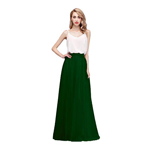 Honey Qiao Women's Maxi High Waist Skirts Blush Tulle Holiday Formal Skirt Emerald Green ()