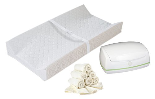 Contoured Changing Pad with Warmies Wipes Warmer & Reusable Warmies Wipes by Babyhaven
