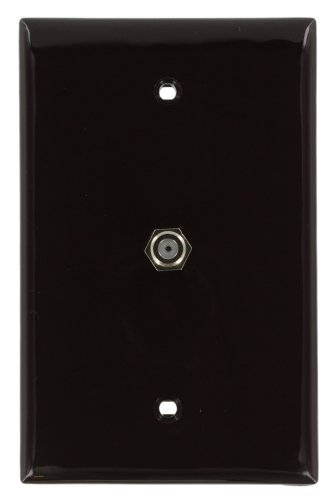 (Leviton 40539-MB Midsize Video Wall Jack, F Connector, Brown)
