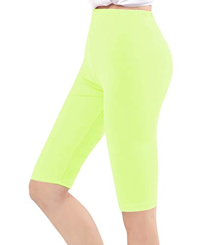 Century Star Women's Modal Over The Knee Length Smooth Short Plus Size Elastic Comfortable Waist Sport Leggings Fluorescent Green US XL-US 1X - Shorts Smooth