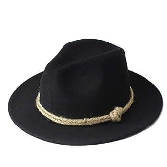 SHENTIANWEI Men Women Winter Fedora Hat Wide Brim Church Hat Panama Hat Outdoor Travel Fascinator Hat Size 56-58CM (Color : Black, Size : 56-58)