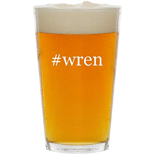 #wren - Glass Hashtag 16oz Beer Pint