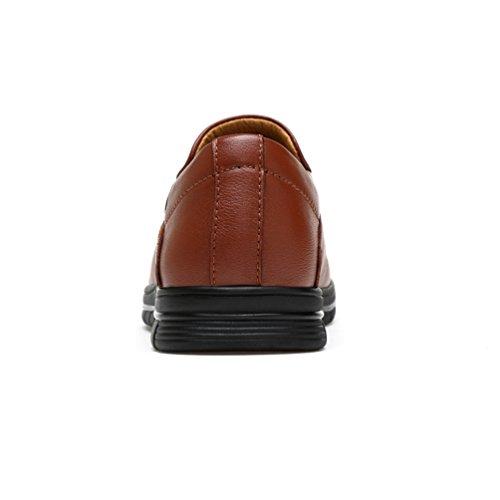 Abby 1676 Mens Senaste Mode Casual Pump Rund Tå Halka På Läderskor Ljusbrun