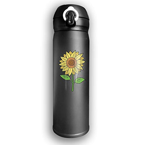 Adhone Designed Sunflower Stainless Water Bottle, Sports Drinking Bottle/Travel Coffee Mug, Leak-Proof Vaccum Cup, with Bounce Cover, Black