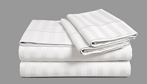 Chateau Home Hotel Collection - Luxury 500 Thread Count 100% Egyptian Cotton Damask Stripe Deep Pocket Super Soft Sateen Weave Sheet Set, Mega Sale Lowest Prices (Queen, White) (White Stripe Damask)