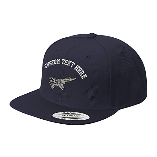 Custom Text Embroidered F-14 Tomcat Unisex Adult Snaps Acrylic Structured Flat Visor Snapback Hat Cap - Navy, One ()
