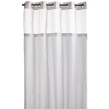 Hookless RBH40MY231 Mystery Snap-In Peva Liner Fabric Shower Curtain -  White