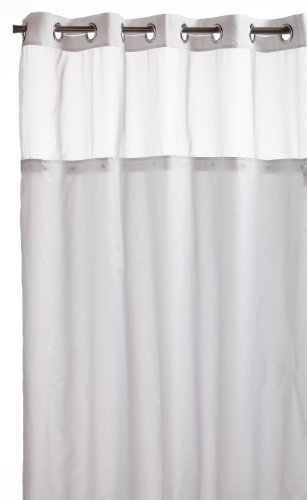 Hookless RBH40MY231 Mystery Snap-In Peva Liner Fabric Shower Curtain -  White (Window Shower Liner compare prices)