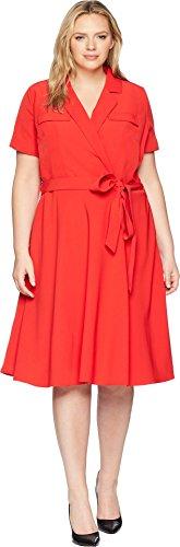 Tahari by ASL Women's Plus Size Crepe Shirtdress Tomato Red 18 (Asl Crepe Dress)