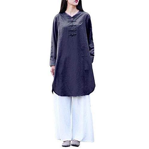 (Clearance Women Dress Rakkiss Bohemia Casual Solid Plus Size Button Half Sleeve Cotton Linen Dress)