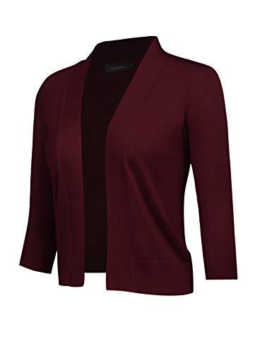 Freeprance Women's Cardigans 3/9 Sleeve Open Front Knit Cardigan Casual SweaterFSY1_XWR_M Burgundy ()