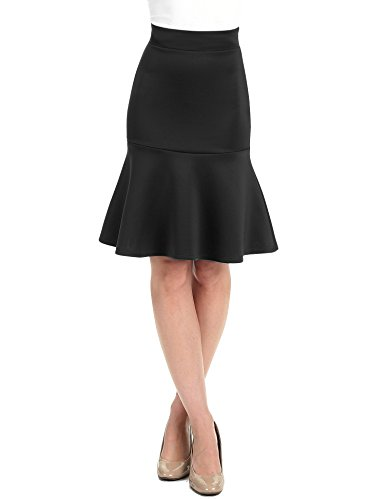 WT1471 Womens High Waist Bodycon Fishtail Midi Skirt S Black