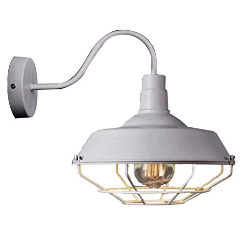 JLL Wire Cage Wall Sconce Plug in Industrial Wall Light E26 Base Vintage Style Plug in Sconce Fixture for Headboard Bedroom Garage Porch (Color : White)