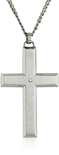 Men's Stainless Steel Cross with Diamond Accent and Silver Curb Chain Pendant Necklace, 24