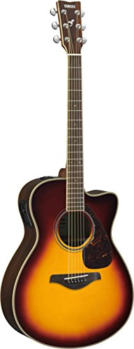 Yamaha FSX830C Small Body Solid Top Cutaway Acoustic-Electric Guitar, Rosewood Body, Concert, Brown - Electric Cutaway Concert Guitar Acoustic