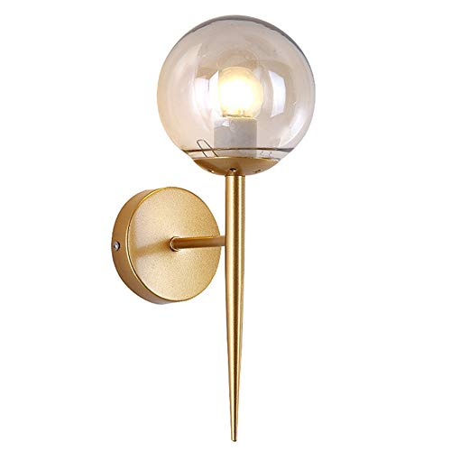 NIUYAO Mid Century Clear Glass Wall Lamp, Modern Retro Vintage Style Wall Sconces Wall Mount Fixture Stylish Wall Lighting (Gold) -