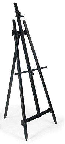 Displays2go Floor Display Easel, Portable and Lightweight, Height-Adjustable Bars for Displaying Signs of Varying Sizes, Tripod Stand for Indoor Use - Black Aluminum (EAS6016056) (George Best Height Weight)