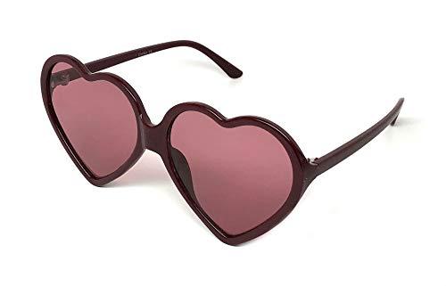 Webdeals - Super Cute Heart Shaped Fashion Sunglasses (Thin Frame, Maroon/Pink)
