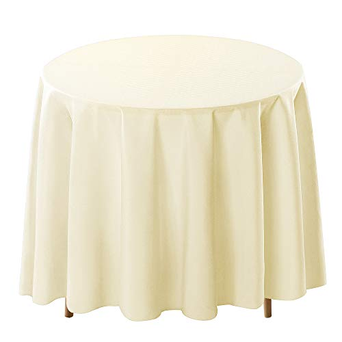 Surmente Tablecloth 120 Inch Round Polyester Table Cloth for Weddings, Banquets, or Restaurants (Ivory) …