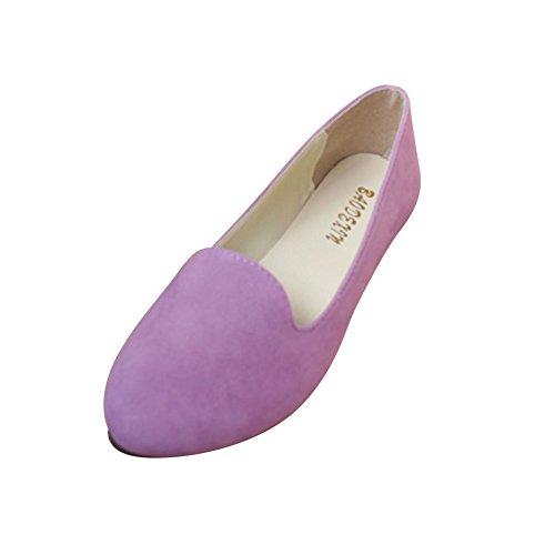 Schuhe MISSMAO Womens on Licht Walking Lila Kunstleder Pumps Damen Comfort Slip Casual Flache Sommer PPRrq