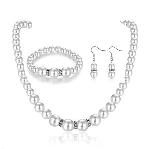 Faux Pearl Necklace Earring Set for Women Girls Imitation Crystal Choker Costume Jewelry Sets for Bridal Wedding (Small Pearl Faux)