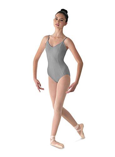Mirella Women's Microlux Princess Seam V-Front Camisole Dance Leotard,Grey,Small