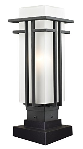 Z-Lite 549PHM-SQPM-BK Outdoor Pier Mount Light with Black Aluminum Finish, Matte Opal shade