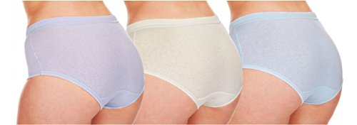 Para mujer 3 Pack Negro Color Blanco Pastel Floral completo Slip 100% algodón ropa interior PASTEL 6 PAIRS