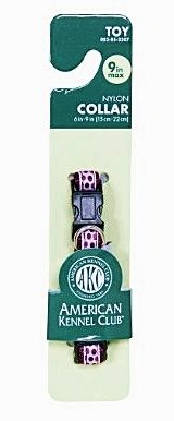 American Kennel Club Adjustable Dog Collar, Small up to 12, Purple Dot
