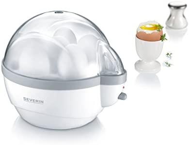 SEVERIN EK 3051 Cuecehuevos, incluye vaso de medida con punzón para huevos, 6 huevos, señal de aviso, blanco/gris