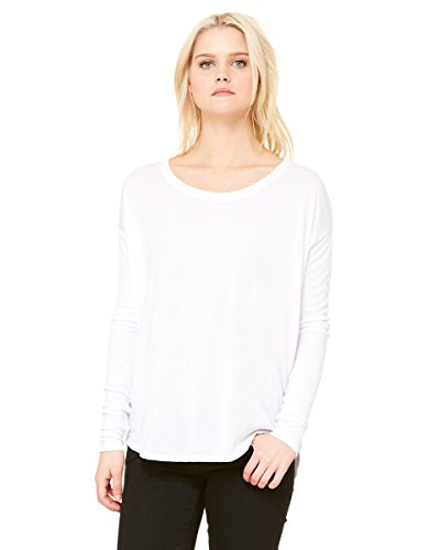 Bella Ladies 'Flowy manga larga camiseta de manga con 2 x 1, Color blanco – S Mujer blanco