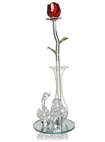 Amazon Crystal Rose And Vase Glass Red Rose In Vase With