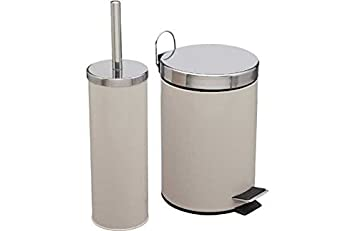 ColourMatch Bathroom Bin and Toilet Brush Set Cream Amazonco