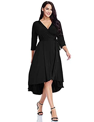 GRAPENT Women's Plus Size Solid V Neck Knee Length 3/4 Sleeve Hi Lo True Wrap Dress