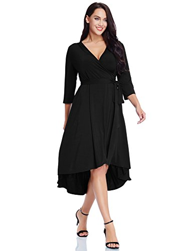 GRAPENT Women's Plus Size Solid V Neck Knee Length 3/4 Sleeve Hi Lo True Wrap Dress Surplice Flared Skirt Black Size ()