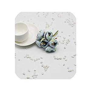 Artificial Flowers 6Pcs / Lot Silk Artificial Flower Rose Camellia Bridal Bouquet Headdress Decorative Material Brooch DIY Crown,Blue 49