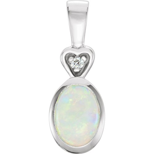 Opal Cabochon and Diamond Rhodium-Plated 14k White Gold Oval and Heart Pendant by The Men's Jewelry Store (for HER)