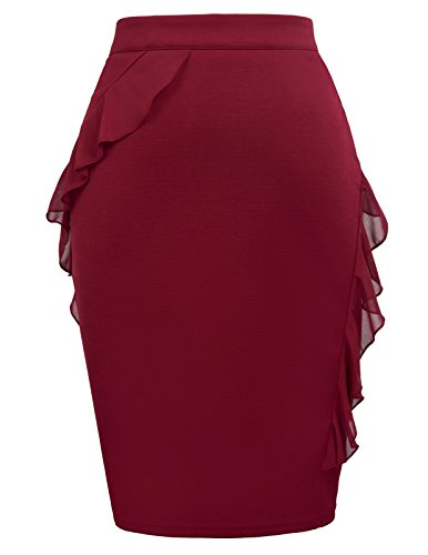 GRACE KARIN Women Elastic Stretchy Office Bodycon Split Pencil Skirt Size M Red by GRACE KARIN