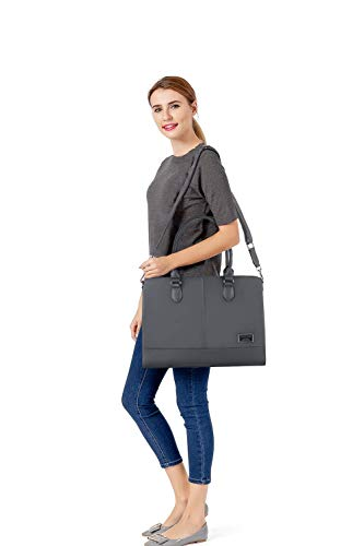 MOSISO Laptop Tote Bag for Women (Up to 15.6 Inch), Premium PU Leather Large Capacity with 3 Layer Compartments Business Work Travel Shoulder Briefcase Handbag, Space Gray by MOSISO (Image #5)