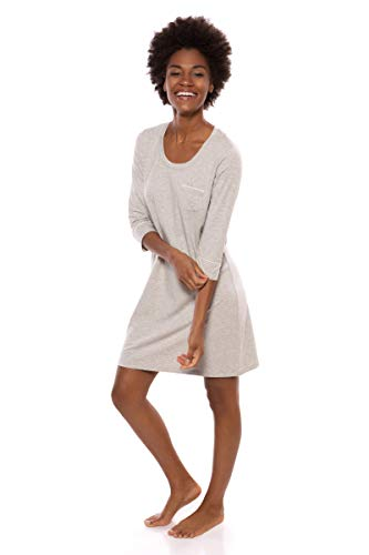 (Women's Sleep Shirt 3/4 Sleeve - Classic Nightshirt for Her by Texere (Zizz, Heather Platinum, Small) for Wife Mom Sister TX-WB040-004-21G2-R-S)