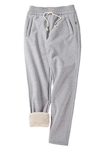 Gihuo Women's Winter Fleece Pants Sherpa Lined Sweatpants Active Running Jogger Pants (2# Light Grey, X-Small)