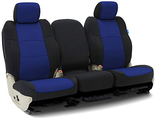 (Coverking CSCF3HD9784 Front 50/50 Model Tailored Seat Covers Neoprene Blue with Black Sides for 2017-2019 Honda Civic Hatchback)