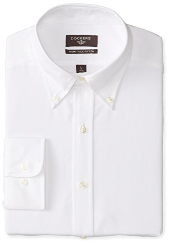 Dockers Men's Solid End On End Dress Shirt In Fitted Fit with Button Down Collar, White, 17 32/33