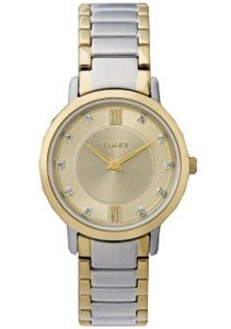 Timex Womens Classic Gold Tone Genuine Diamonds Encrusted Dial Two Tone Bracelet Watch T2M697