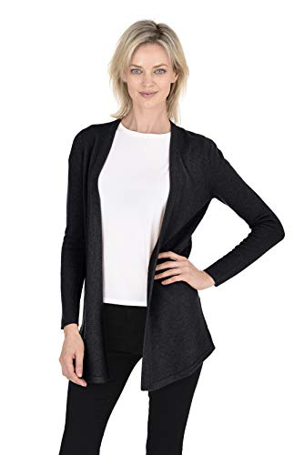 - Cashmeren Women's Wool Cashmere Classic Knit Soft Shaker-Stitch Open Cardigan Sweater (Black, Medium)