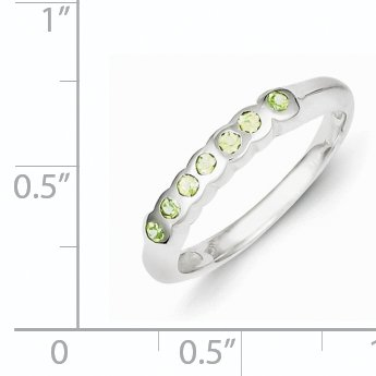 925 Sterling Silver Green Peridot Wedding Band Ring Fine Jewelry Ideal Gifts For Women