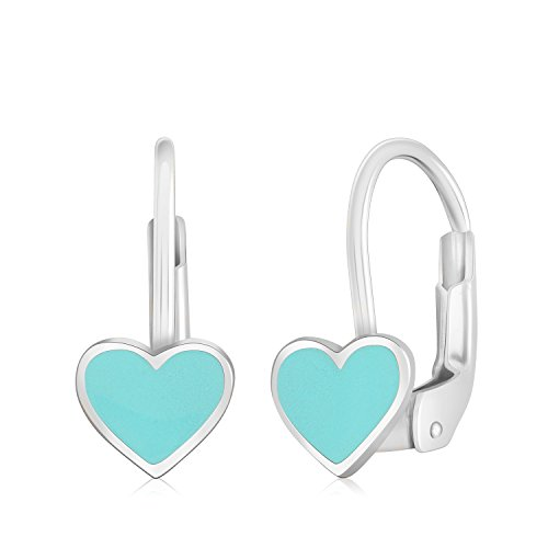 UNICORNJ 14K White Gold Small Heart Leverback Earrings with Light Blue Enamel Italy by Unicornj