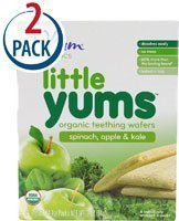 Plum Organics Little Yums Teething Wafers, Spinach Apple Kale, 2 Boxes